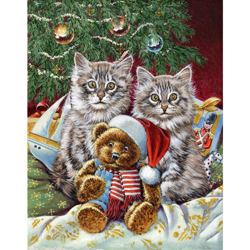 5D Diamond Painting Two Cats and a Christmas Teddy Kit