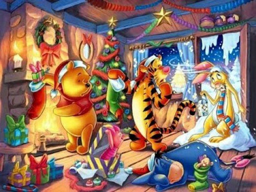 5D Diamond Painting Winnie the Pooh by the Fire Christmas Kit