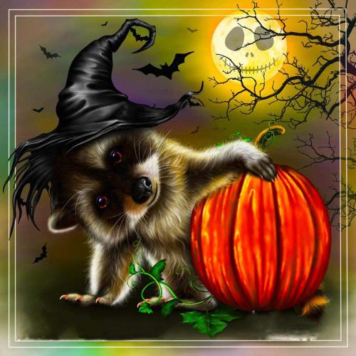 5D Diamond Painting Halloween Raccoon Kit