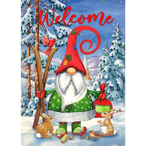 5D Diamond Painting Welcome Gnome with Skis Kit