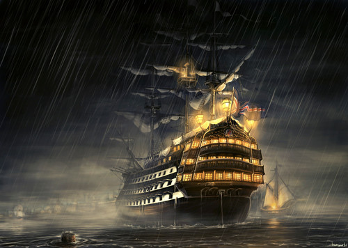 5D Diamond Painting Ship in the Rain Kit