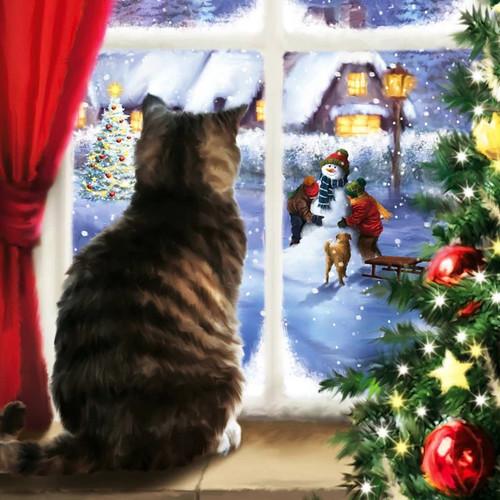 5D Diamond Painting Christmas Cat Watching Children Kit