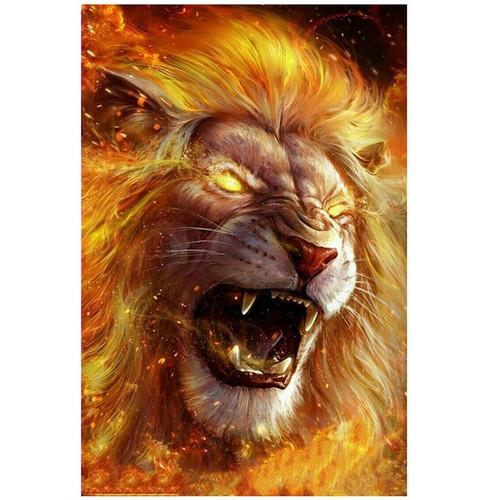 5D Diamond Painting Fiery Lion Kit