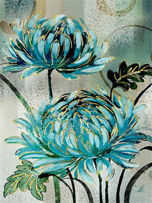 5D Diamond Painting Green and Gold Flowers Kit