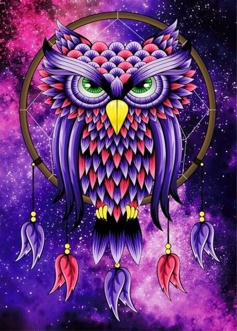 5D Diamond Painting Purple Owl Dream Catcher Kit