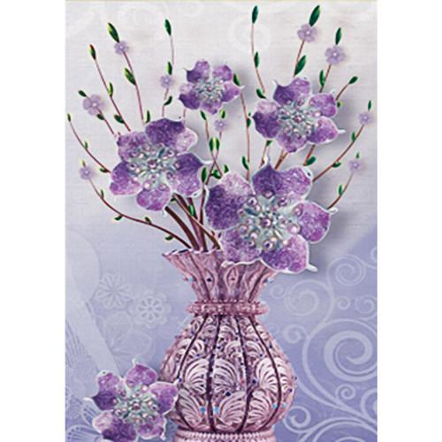 5D Diamond Painting Purple Vase of Flowers Kit