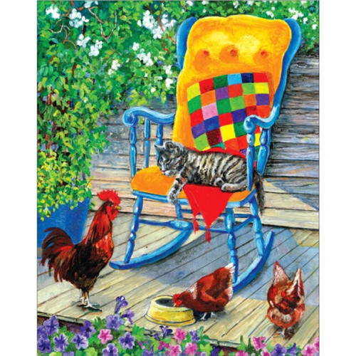 5D Diamond Painting Blue Chair by the Chickens Kit