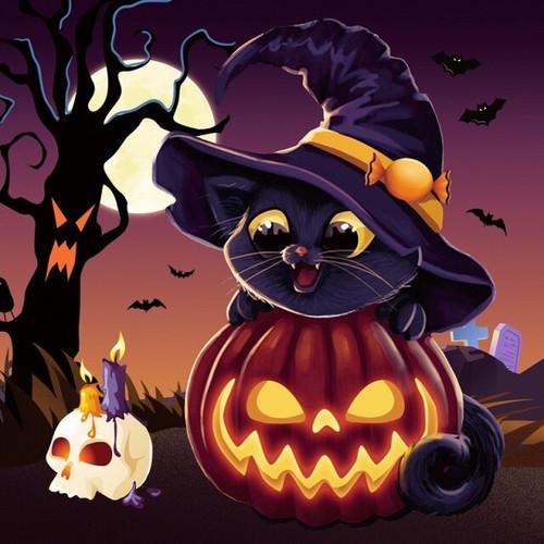 5D Diamond Painting Little Halloween Witch Kitten Kit