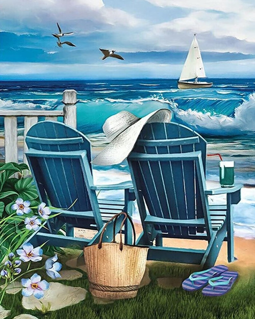 5D Diamond Painting Two Blue Chairs By the Sea Kit