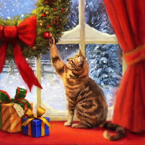 5D Diamond Painting Christmas Cat Wreath Kit
