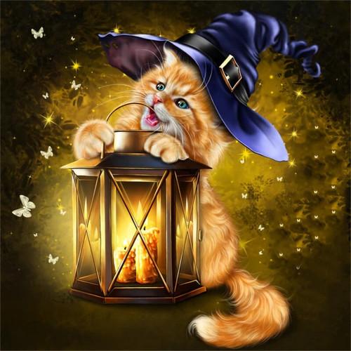 5D Diamond Painting Kitten Witch and lantern Kit