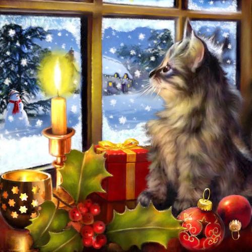 5D Diamond Painting Kitten Christmas Candle Kit