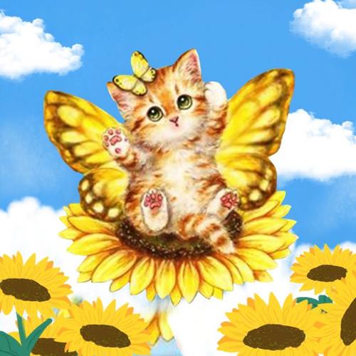5D Diamond Painting Sunflower Butterfly Kitten Kit