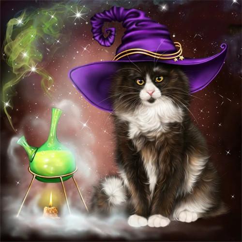 5D Diamond Painting Magic Potion Witch Cat Kit