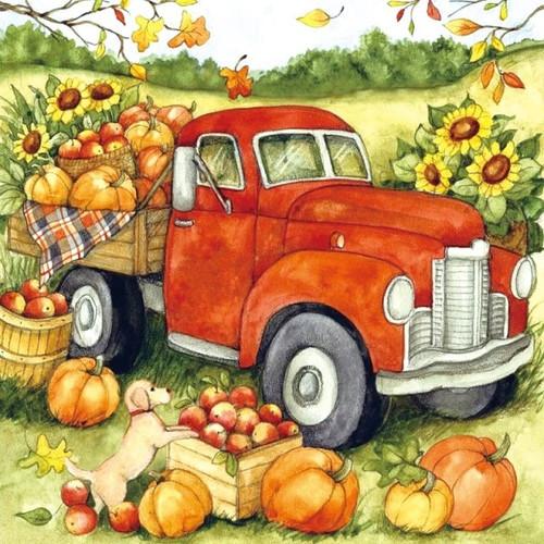 5D Diamond Painting Red Truck Pumpkin Harvest Kit