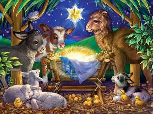 5D Diamond Painting Baby Jesus and the Barn Animals Kit