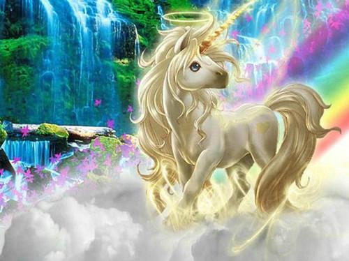 5D Diamond Painting Golden Horn Unicorn Rainbow Kit