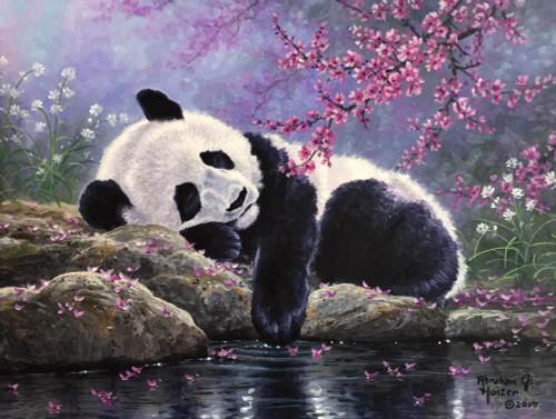 5D Diamond Painting Panda by Pink Flowers Kit