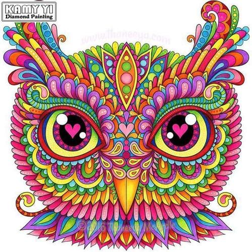 5D Diamond Painting Colorful Owl Face Kit