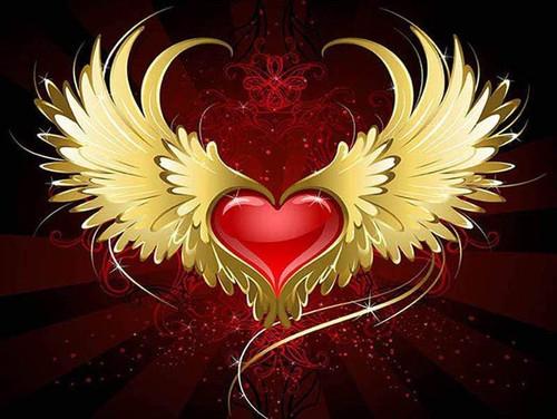 5D Diamond Painting Gold Wing Heart Kit