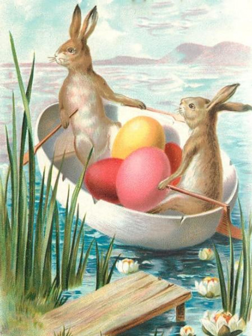5D Diamond Painting Egg Canoe Rabbits Kit