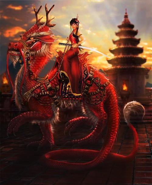 5D Diamond Painting Warrior Woman on a Dragon Kit