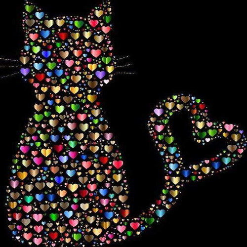 5D Diamond Painting Cat of Hearts Kit