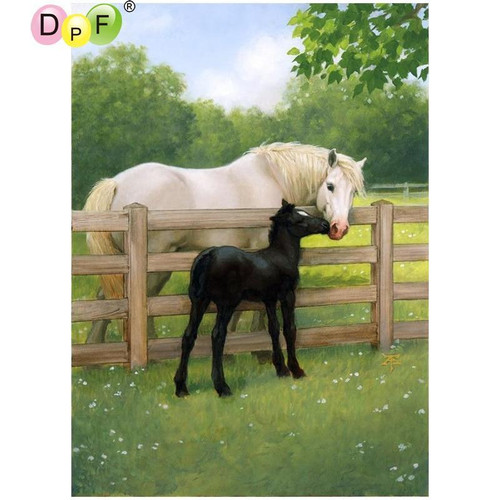 5D Diamond Painting White Horse and Black Foal Kit