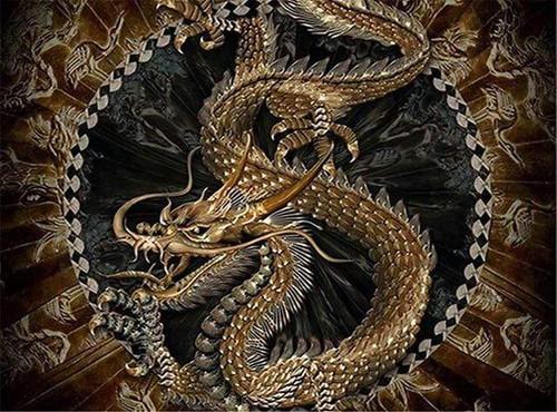 5D Diamond Painting Gold Chinese Dragon Kit