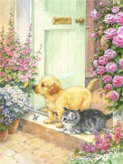 5D Diamond Painting Puppy & Kitten Doorstep Kit