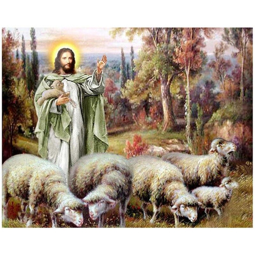 5D Diamond Painting Jesus and a Flock of Sheep Kit