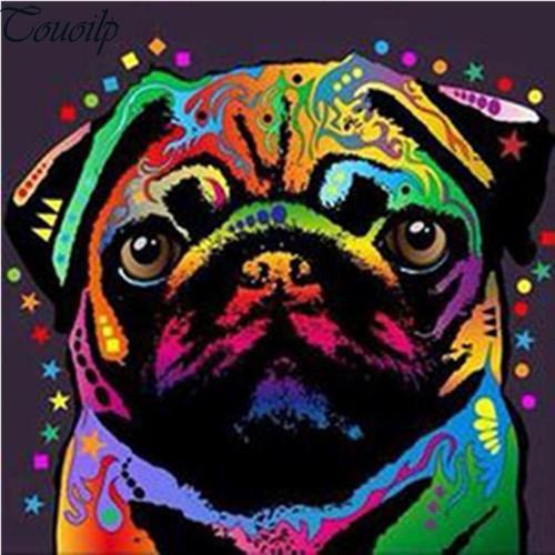 5D Diamond Painting Colorful Abstract Pug Kit