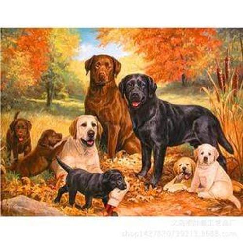 5D Diamond Painting Labrador Dogs and Puppies Kit