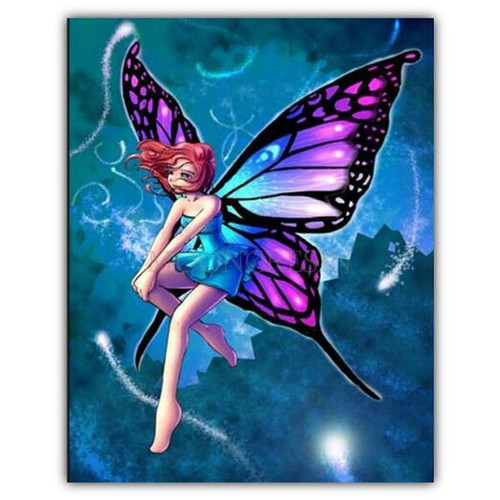 5D Diamond Painting Colorful Butterfly Girl Kit