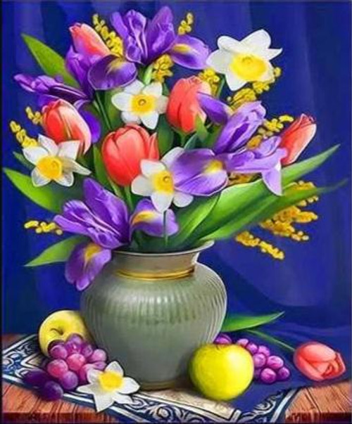5D Diamond Painting Tulips and Iris Flower Vase Kit