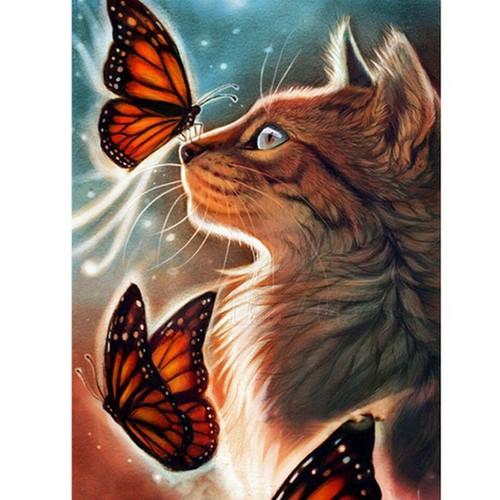 5D Diamond Painting Cat and Orange Butterflies Kit