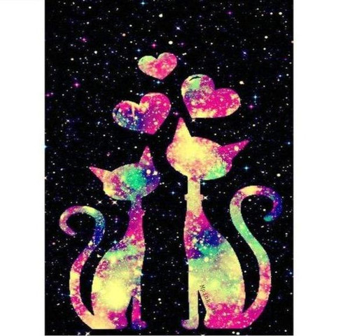 5D Diamond Painting Colorful Galaxy Cats Kit