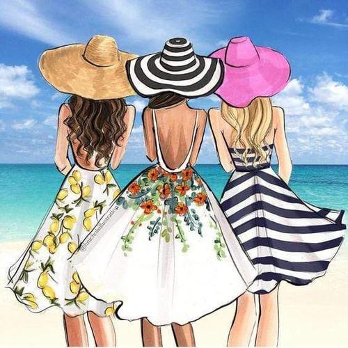 5D Diamond Painting Three Girls at the Beach Kit