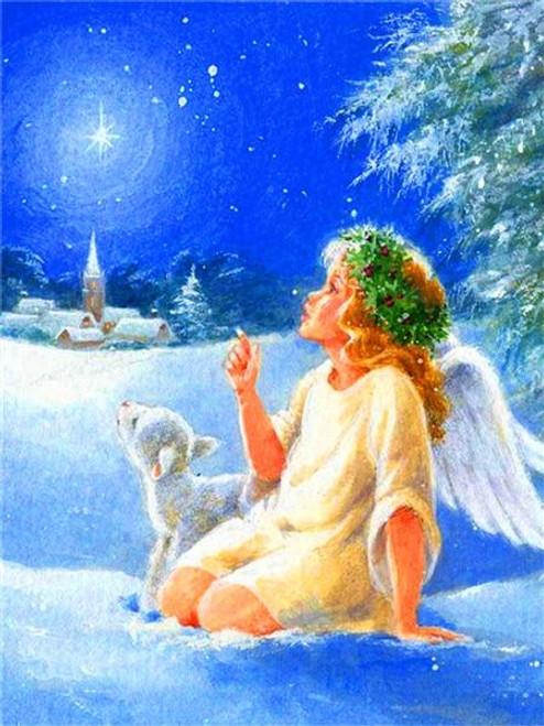 5D Diamond Painting Christmas Angel & Lamb Kit