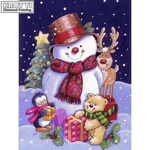 5D Diamond Painting Snowman and Friends Christmas Kit