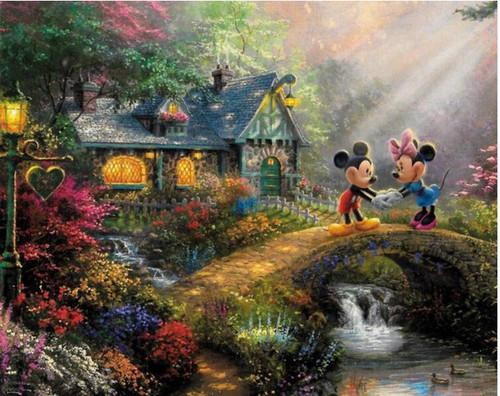 5D Diamond Painting Mickey & Minnie Cottage Bridge Kit