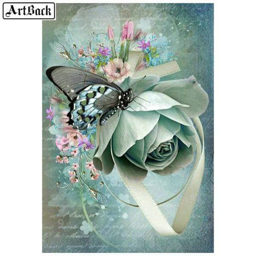 5D Diamond Painting Green Rose and Butterfly Kit