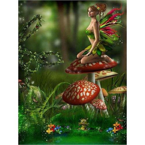 5D Diamond Painting Fairy on a Mushroom Kit