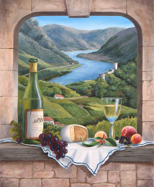 5D Diamond Painting Wine and Cheese Mountain View Kit