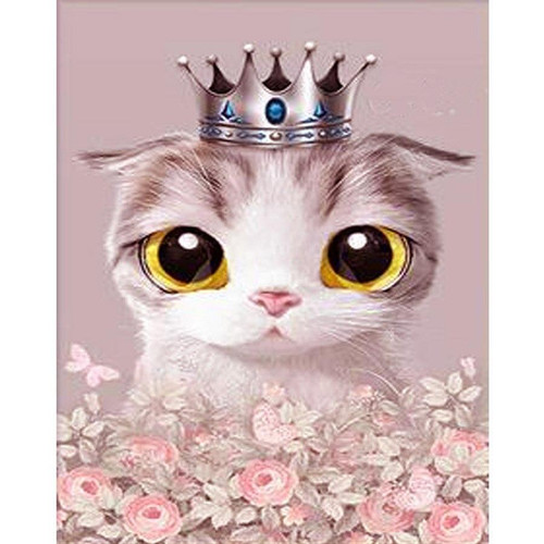 5D Diamond Painting Kitty in a Crown Kit