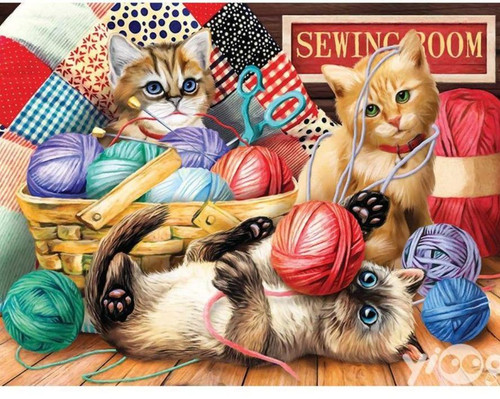 5D Diamond Painting Kittens in the Yarn Kit