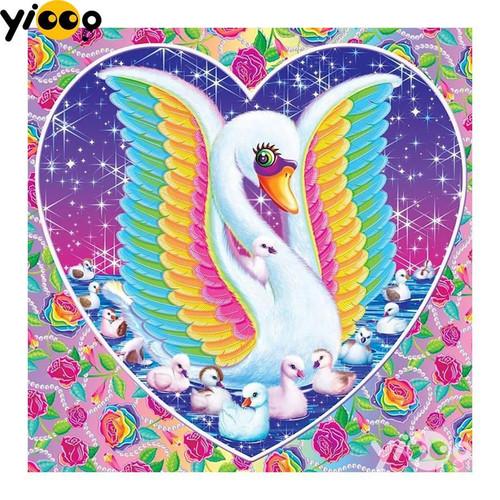 5D Diamond Painting Rainbow Wing Swan Heart Kit