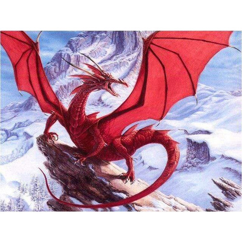 5D Diamond Painting Red Dragon in the Snow Kit