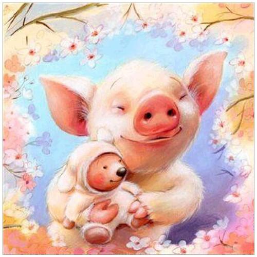 5D Diamond Painting Pig and Teddy Bear Kit