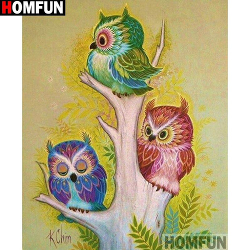 5D Diamond Painting Three Owls in a Tree Kit